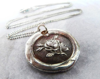 Tudor Rose Wax Seal Necklace. Wax Seal Jewelry in Recycled Fine Silver. Love Symbol