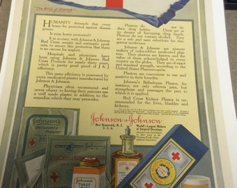 Johnson and Johnson vintage ad circa 1916 ready to frame.