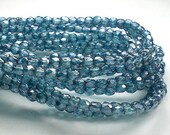 Capri Blue Czech Glass Fire Polished 3mm Faceted Round Beads 100 pcs. 3mm/012