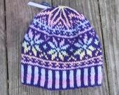 SALE Purple and pastel fair isle snowflake hat