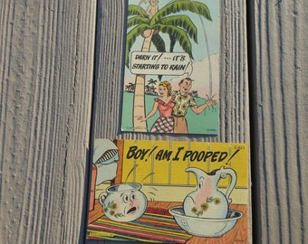 1950s Post Cards Curt Teich Tropical Florida Comics Genuine Curteich Chicago Vintage Humor Art Colortone Numbered