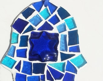69 Israel Independence, Hamsa, Glass, Judaica, Israel, Maguen David, Sun catcher  ,Mosaic, Hamsa ,Blue ,meditarranean colors