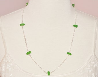 Sea Glass Jewelry Beach Eternity Necklace in True Greens 20 Inch 8632