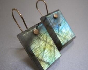Labradorite Rectangles Solid 14k Gold Earrings