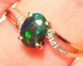 SZ 8, Solid 10k Yellow Gold, Daimond Ring, Black Opal, Ethiopian Opal, Welo Opal, Natural Opal,Blue Green Red Orange Teal Yellow Opal, OOAK