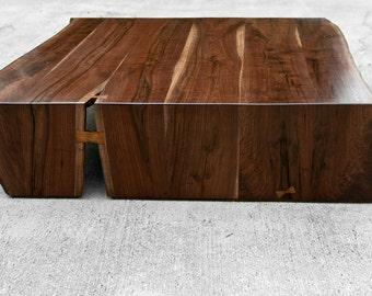 Live Edge Walnut Folded Bole - Ottoman Size 50 x 50 - large coffee table - oversize tabletop - handmade in the USA - solid hardwood