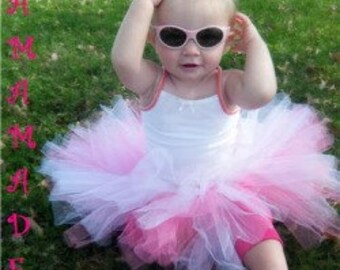 White and Hot Pink Tutu, White and Pink Tutu with matching hair accessory,pink and white tutu,girls tutu, flower girl tutu,birthday tutu