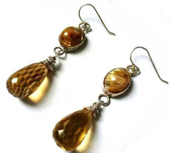 Gold Rutilated Quartz and Faceted Golden Citrine Briolette Tear Drops-Natural Blonde Earrings