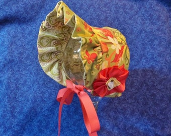 Baby Sun Bonnet Sage Green with Coral Floral