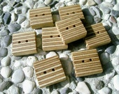 "Wood Buttons - 8 Square Handcrafted Wooden Buttons From BIRCH Laminated Wood, 5/8"" of inch square"