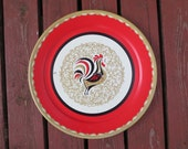 Large Vintage Mid-Century Rooster Metal Tray