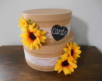 Victorian Rustic Wedding Card Box 2 tiered with Chalkboard or Wood Personalized Tag Burlap, Lace, Sunflowers