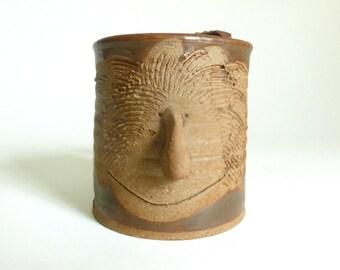 Vintage 1970's Handmade Clay Pottery Man's Face Shaving Mug