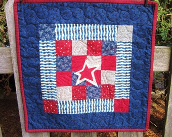 Red White and Blue Quilted Wallhanging
