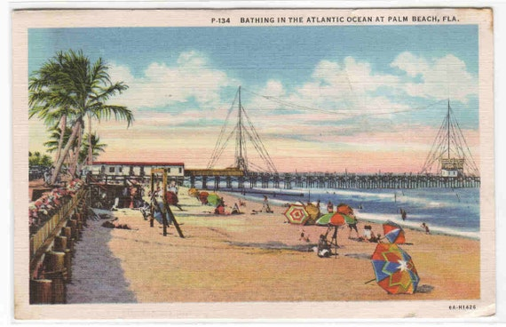Beach Scene Palm Beach Florida 1940 postcard by ...