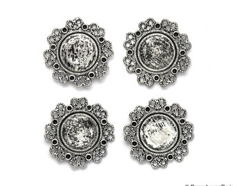 Set of 4 Antique Silver Base Metal Circle with Filigree Connector Cameo Cab Extra Fancy Flower....Frame Settings...Circle round 13mm  25mm