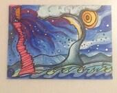 Colorful original abstract ACEO  fantasy landscape drawing cloud moon Voyage ATC Art Card