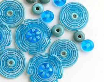 Turquoise Lampwork Glass Beads, FREE SHIPPING, Lampwork Flowers Set, Glass Disc ad Donuts Beads - Rachelcartglass