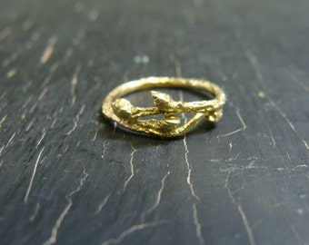 14K Solid Gold Asymmetrical Wild Blueberry Branch Ring -- Twig Engagement Ring