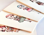SALE -  30% Off - The Dolly Collector Set - 4 blank note pop surrealist Blythe lover doll cards in 4 designs - by Mab Graves