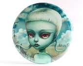 Pretty Pocket Mirror - Alien Girl - To See a World in a Grain of Sand - alien pocket mirror by Mab Graves