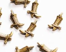 10 Pcs. Bronze Small Cowboy Boots Charms
