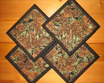 Coasters, Pine Cones on Black