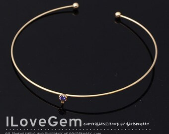 NP-1542 Gold plated, Wire, Bangle, CZ, Purple, 1pc