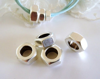 Hexagon Brass Washer Nut 13x6.2mm (Ø 8mm), Silver Round Nut Edge Spacer Beads, Chunky Rondelle Beads, Industrial Chic Metal Beads- 2 pcs