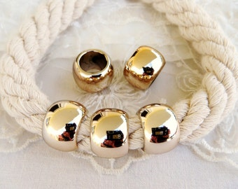 CCB Big Hole Ball, Pink Gold Large Hole Bead, UV Plated Lightweight Bead 18mm, Hole 10mm - 4 pieces