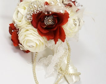 DEPOSIT Brooch Bouquet  Jeweled Bouquet  Feather Bouquet  Rhinestone Brooch Bouquet Pearl Bouquet - Bridal Bouquet - Wedding Broach Bouquet