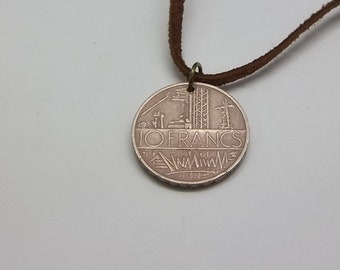Coin Necklace, French 10 Francs, Coin Pendant, Leather Cord, Men's Necklace, Women's Necklace, 1977