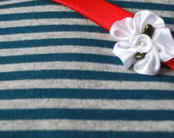 Organic striped jersey RIB 1x1   petrol - grey marl FQ