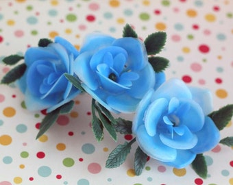 Blue rose cupcake topper/ Retro Rose Cake Topper/ (12)