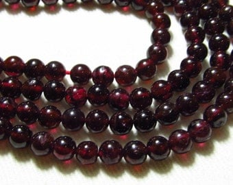 5x14 inches - SO Gorgeous Natural - RED GARNET - Smooth Polished Round Ball Beads size 5 mm approx