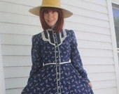 Gunne Sax Dress 70s Blue Floral Vintage XS Prairie Print Country Midi