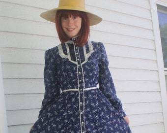 Gunne Sax Dress 70s Blue Floral Vintage 7 XS Prairie Print Country Midi