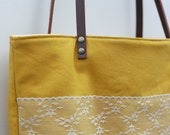 Mustard Yellow Linen Lace and Leather Tote Bag Purse Shabby Chic