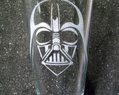 Star Wars Darth Vader etched pint beer glass tumbler