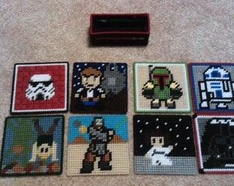 Star Wars Coasters - Darth Vader, Obi-Wan, Skywalker, R2D2, Princess Leia, Boba Fett, Stormtrooper