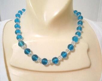 1920s Art Deco Blue Glass beaded Necklace