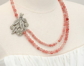 Rose Quartz Roses. Rhinestone Necklace from Repurposed Vintage Art Deco Pin.