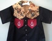 Boys' Rockabilly Button Up TATTOO Shirt w/ Embroidered Pockets Toddler Boys Retro Wear