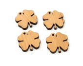 Shamrock (4-Leaf Clover) Charm - 4 pack . Sustainable Black Cherry Wood Charms - Made in USA!