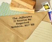Plain and Simple Return Address Stamp on Olive Wood