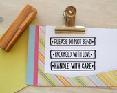 Parcel Text Olive Wood Stamp - Choice of 3