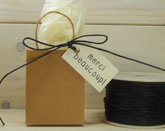 Full Spool Baby Black 1mm Wax Cotton