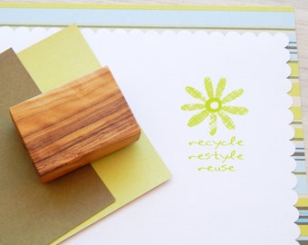Recycle Restyle Reuse Olive Wood Stamp