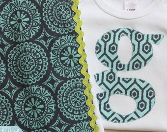 Alphabet bodysuit and burp cloth set - Navy, turquoise, and lime green