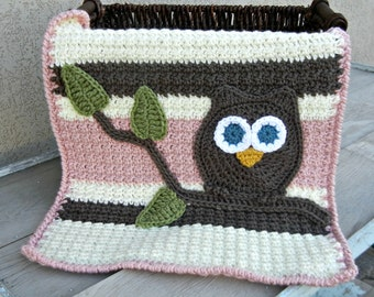 Owl Baby Blanket Pink Brown Baby Shower Gift